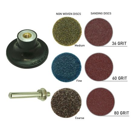 "Superior Pads and Abrasives PP30K 3"" Diameter 7pcs Twist Lock Spindle / Disc Surface Conditioning Kit"