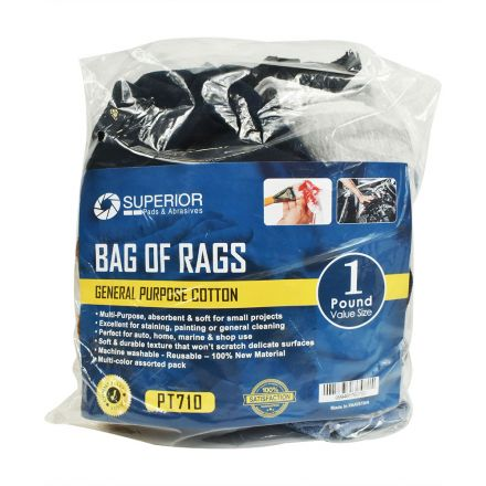 Superior Pads and Abrasives PT710 1 LB. Bag of Rags - Multi-Color Assorted