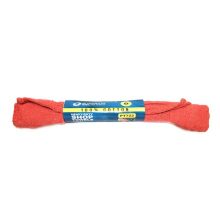 Superior Pads and Abrasives PT722 12 Inch x 14 Inch Red Shop Towel - 100% Cotton - 3/Pack