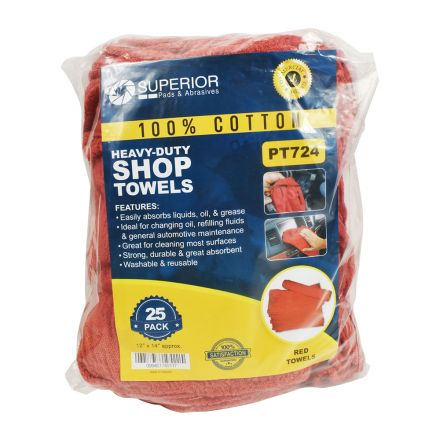 Superior Pads and Abrasives PT724 12 Inch x 14 Inch Red Shop Towel - 100% Cotton - 25/Pack