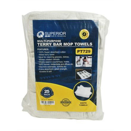 Superior Pads and Abrasives PT729 14 Inch x 17 Inch White Terry Mop Towel - 100% Cotton - 25/Pack