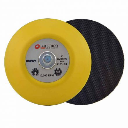 Superior Pads and Abrasives RSP57 3 Inch Hook & Loop Sanding Pad with 5/16 Inch-24 Threads