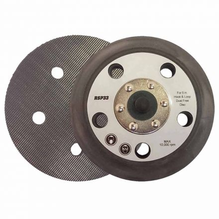 "Superior Pads and Abrasives RSP33 5"" Dia - 5/16""-24 UNF Threaded Shaft Hook & Loop Sander Pad with 5 Vacuum Holes replaces Porter Cable 15000"