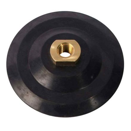 """Superior Pads and Abrasives PP40 4"""" Dia Semi Flexible Rubber Backing Pad with Velcro and 5/8""""-11 Female Brass Nut"""