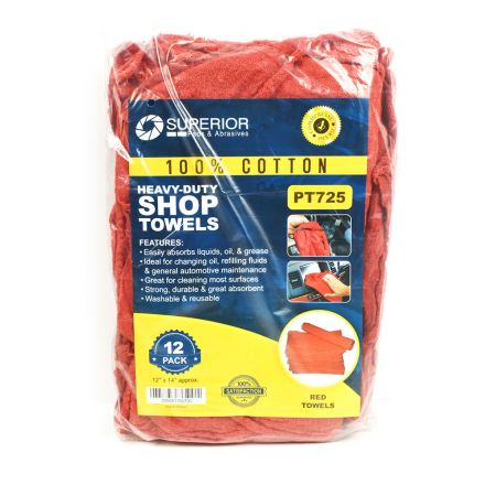 Superior Pads and Abrasives PT725 12 Inch x 14 Inch Red Shop Towel - 100% Cotton - 12/Pack