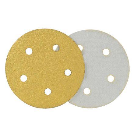 Superior Pads and Abrasives SD557P 120 Grit 5 Inch Diameter 5-Hole PSA Sanding Paper - 25/Pack (Ceramic Aluminum Oxide)