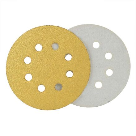 Superior Pads and Abrasives SD584H 240 Grit 5 Inch Diameter 8-Hole Hook & Loop Sanding Paper - 25/Pack (Ceramic Aluminum Oxide)